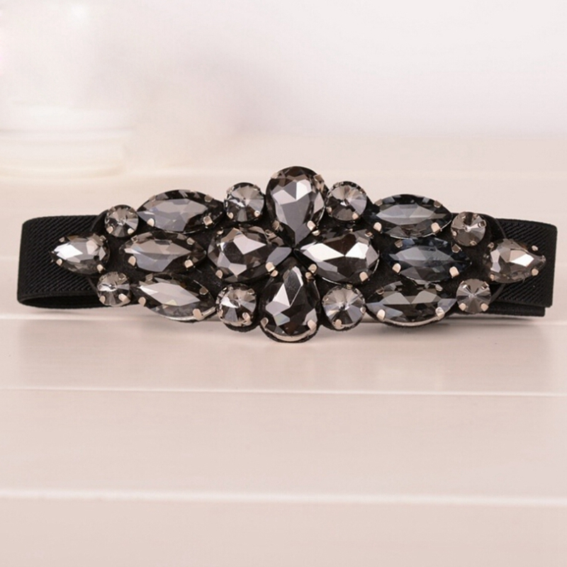 Gorgeous Crystal Flower Buckle Elastic Waist Belt Skinny Strap Waistband Cinch Fashion Women's Corset Black Color