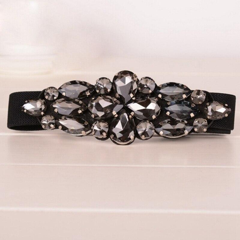 Gorgeous Crystal Flower Buckle Elastic Waist Belt Skinny Strap Waistband Cinch Fashion Women's Corset Black Color