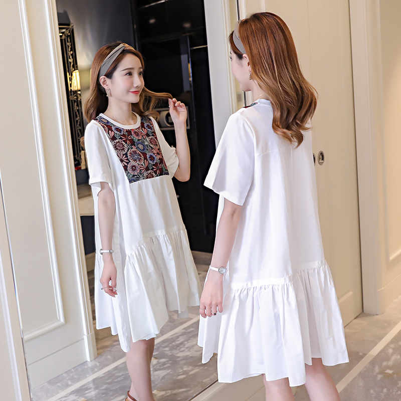 Floral Embroidery Maternity Dress 2018 Loose Pregnancy Clothes Brief Cotton Maternity Clothing Of Pregnant Women