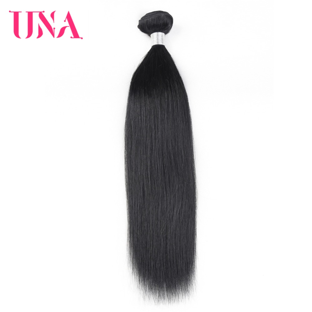 UNA Human Hair 1 Piece #1B Color Hair Brazilian Straight Non-Remy Hair Weft Human Hair Weave Bundles 8-24 inches Free Shipping