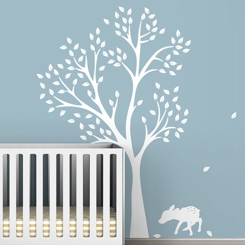 High quality 198 x141cm Extra Large White Tree Decal for Nursery room , vinyl tree wall stickers for baby rooms decor ,T3025
