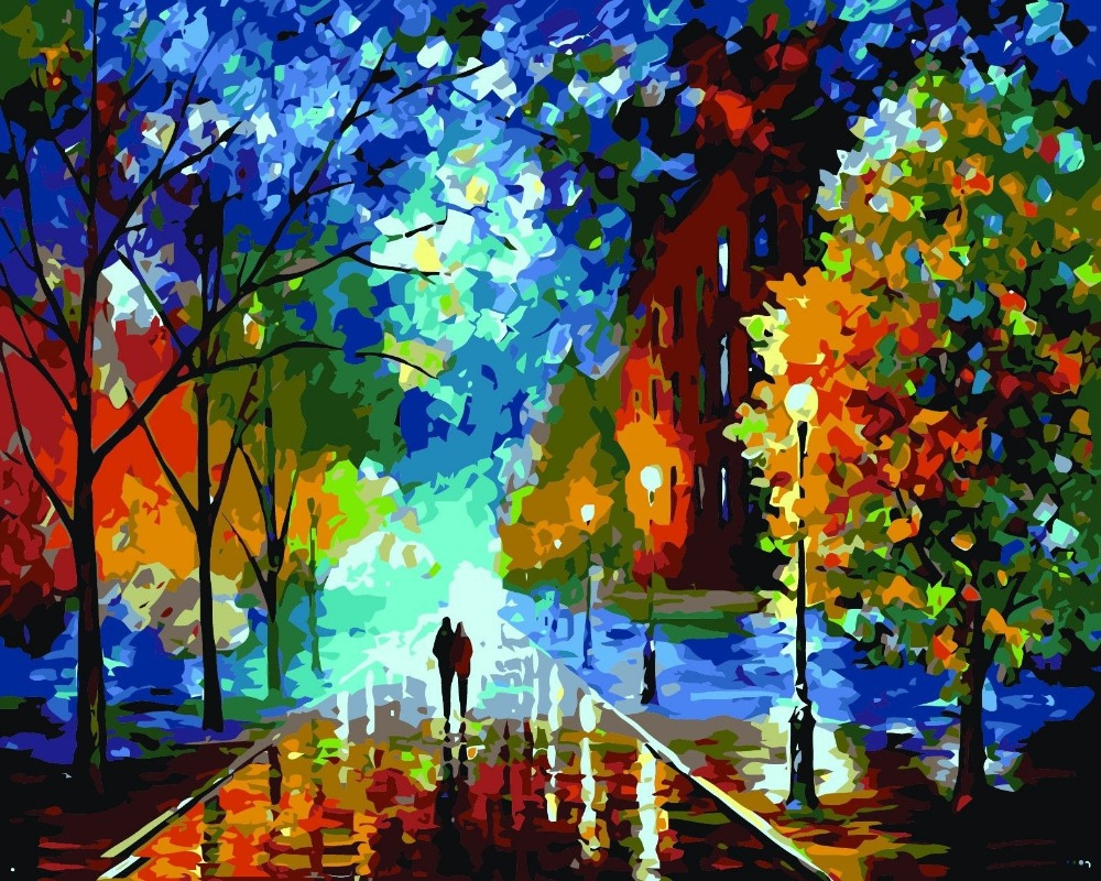 Beautiful acrylic painting on canvas for Acrylic mural paint