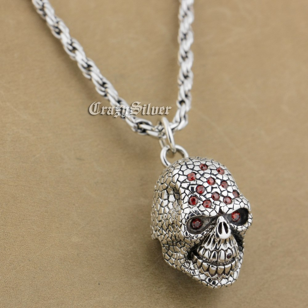 Red CZ Stone 925 Sterling Silver Skull Mens Biker Rocker Punk Pendant 9S124 925 Sterling Silver Necklace 24 inches