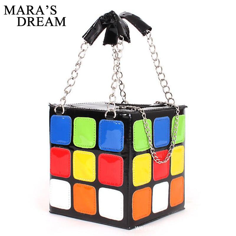 Mara de Rêve 2018 Super Qualité PU En Cuir De Mode Casual Coloré Amour Cube Sac Téléphone Sac À Main Stéréotypes Petit Carré Sacs