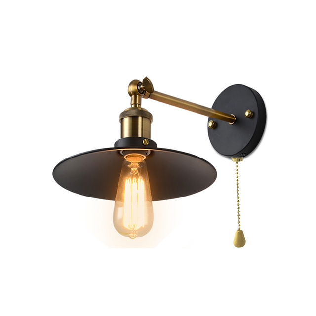 Vintage Iron Edison Wall Lamp With Pull Switch American Style Loft Light Living Room Bar Dining