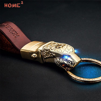 High End Auto Leopard Leather Keyring Car LED Light Men Keychain For Luxgen MINI Cooper Mitsubishi