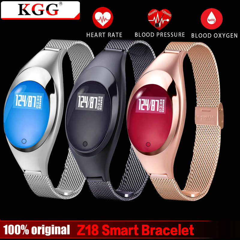 KGG Z18 Women Smart bracelet Bluetooth Fashion Smart Wristband Blood Pressure Heart Rate Fitness Monitor Pedometer Android IOS