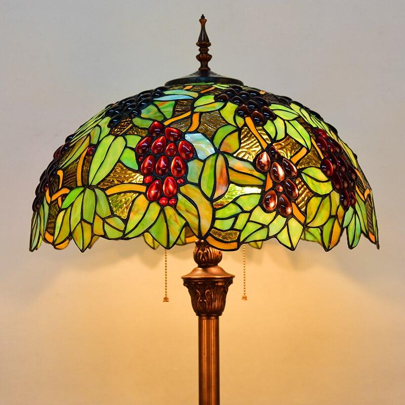 Europa estilo retro uva de vidro manchado de Tiffany lâmpada chão da sala quarto estudo candeeiro de pé