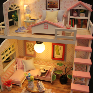 Image 3 - DIY בית בובות מיניאטורות עץ בית בובות Miniaturas ריהוט בית צעצוע בובת צעצועי מתנת בית תפאורה קרפט צלמיות M33