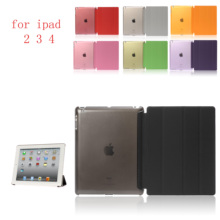 New PC Leather Case for Apple iPad 2 3 4Fashion Smart Cover + PC translucent back Cover for A1460`A1459`A1458`A1416`A1430`A1403 цена