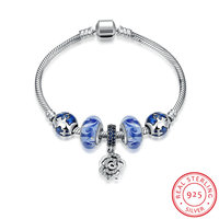 Ann Snow Real 925 Sterling Silver Lovely Rose Crystal Charms European Murano Glass Beads DIY Bracelets