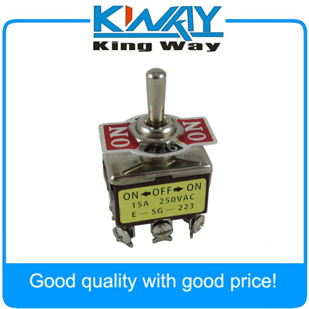 6-Pin Toggle DPDT ON-OFF-ON Momentary Switch 15A 250V NEW image