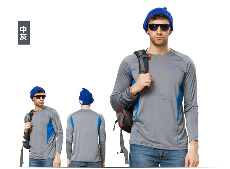 mens long sleeve tees for hiking camping outdoors male breathable quick dry t shirts man coolmax