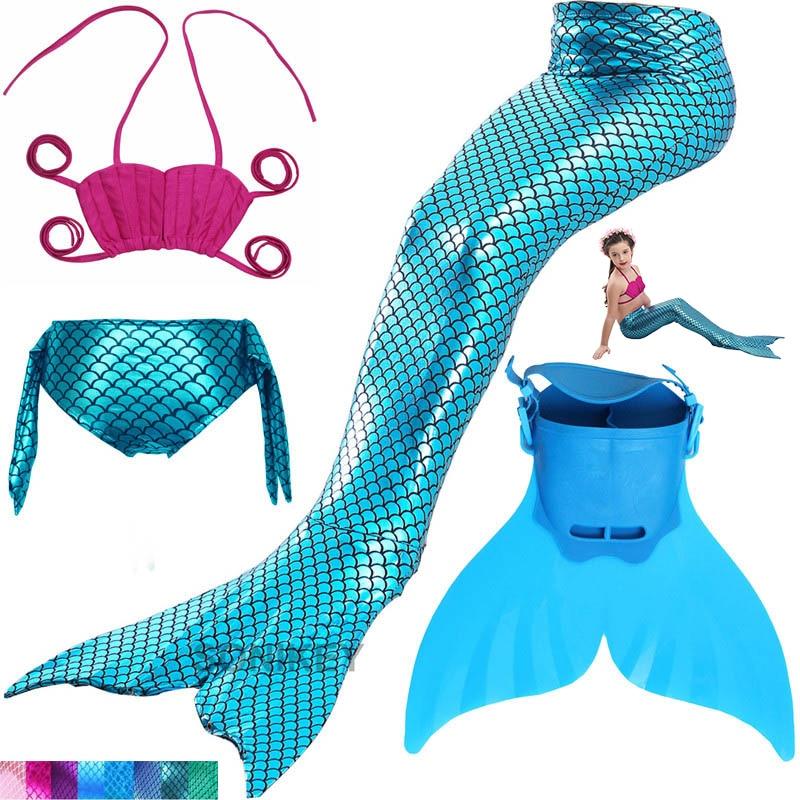 Swimming Mermaid Tail Costume With Monofin Girls Bathing Suit Little Children Ariel Mermaid Tail Cosplay Kids Swimwear Swimsuit