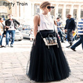 100cm Maxi Long Skirts 2016 Spring 4Layers Shirt Mesh Pleated Women Ball Gown Flared Tutu Tulle Skirts BSQ004