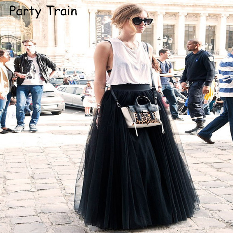 Fashion Skirt Tulle Skirts Long Womens Maxi Skirts 2018 Spring 4layers Mesh Pleated BridesmaidBall Gown Flared Saia Longa