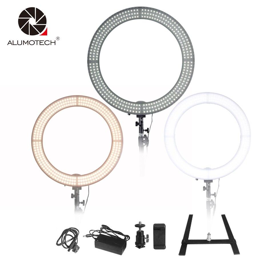 Alumotech LED 18 Anneau Lumière Selfie Lumières 60 w 5500 k/3200 k Dimmable Lampe Ampoules pour Caméra photographie Studio Téléphone Vidéo