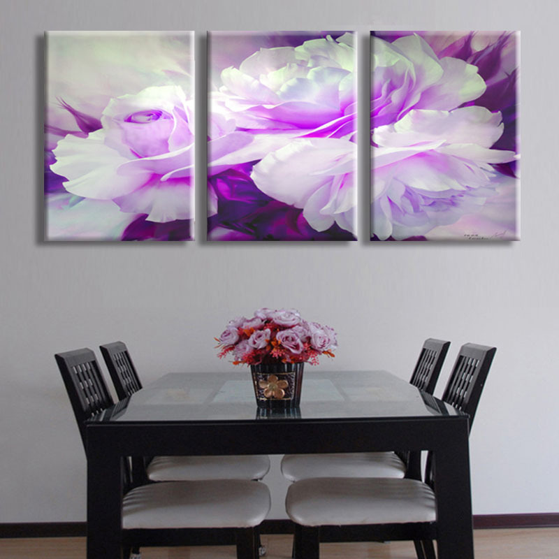 Aliexpress com buy free shipping 3 piece wall art white purple lover flower big perfect canvas wall art on canvas picture modern picture home decor from