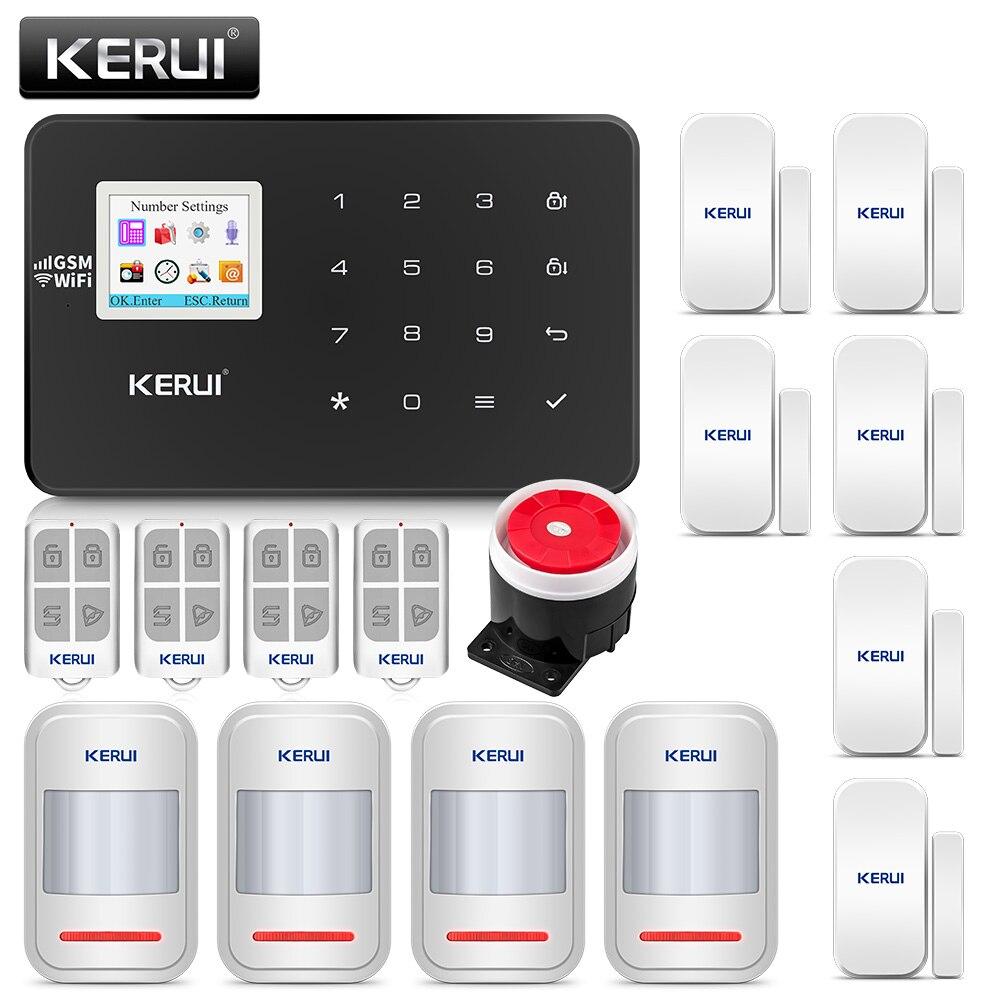 Oryginalny KERUI WIFI GSM włamywacz System alarmowy SMS kontrola aplikacji domu PIR wykrywacz ruchu drzwi czujnik alarmowy detektor alarmu