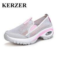 KERZER Woman Running Shoes Woman Sport Shoes Sneaker Slip On Jogging Shoes Light Walking Sneakers Gray