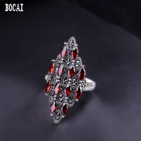 Thai silver handmade jewelry real 925 sterling silver new opening women's natural pomegranate red ring