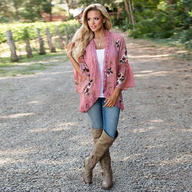 HTB1i2y9Ef9TBuNjy0Fcq6zeiFXaF Women Plus Size Loose Casual Basic Jackets Female 2018 Autumn Long Flare Sleeve Floral Print Outwear Coat Open Stitch Clothing