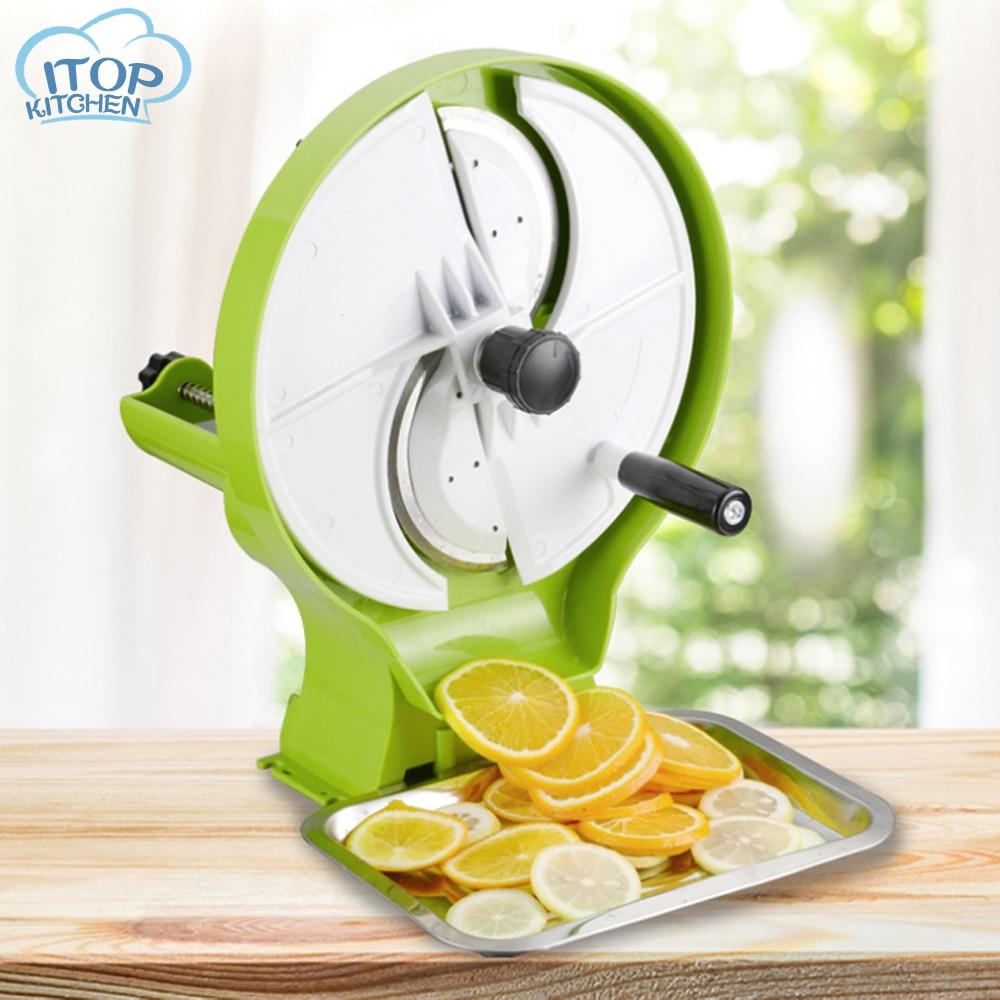 Coupeur de fruits Commercial trancheuse multifonction trancheuse de citron manuelle 0.8-8 MM d'épaisseur avec 3 Gadget de fruits de légumes d'entrée
