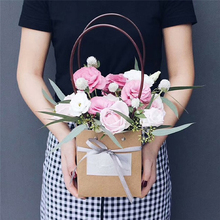 Kraft Paper Bag With Handle Baby Shower Wedding Birthday Party Favor Gift Christmas New Year Shopping Package Food Flower Bag