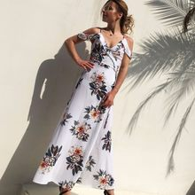 women summer dress 2018 plus size chiffon dresses long maxi boho clothes cold shoulder casual loose white dress tunic robe jy251(China)