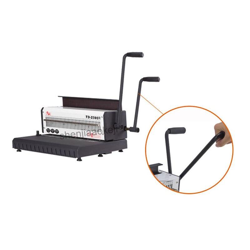 A4 Machine à relier fil de papier TD 2500R (rond) machine à relier anneau de fer calendrier de bureau machine à poinçonner manuelle 300 feuilles reliure - 4