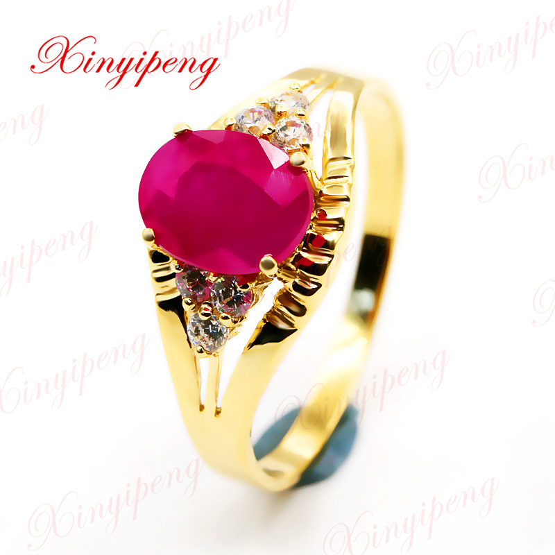 Xin yi peng 18 k yellow gold inlaid natural ruby ring woman ring, and innovative style стоимость