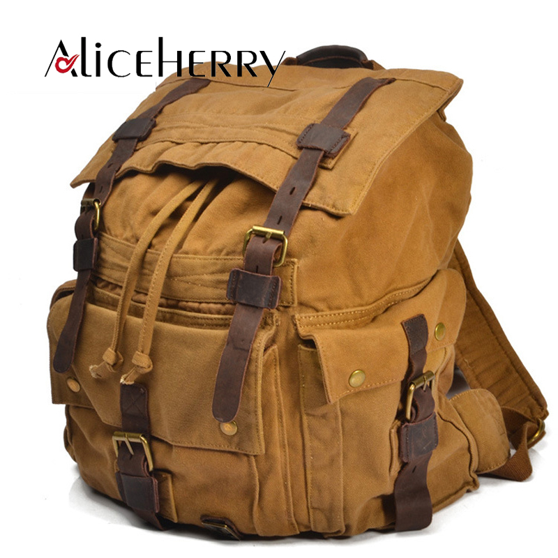 Vintage Fashion Male Casual Leather Canvas Backpack Vintage Large Capacity Shoulder Bag Bags For Men Women колпак diffusor k50 1