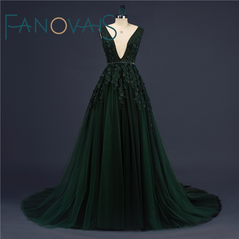 Dark Green Sexy Lace   Prom     Dresses   Vestido de Novia Beads Luxury Evening Party   Dresses   Robe de Soiree Kafatan Special Occasion