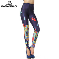 Woman 3D Digital Blue Plaid Square Printed OEM Custom Leggings Pencil Skinny Pants 2014 New Drop