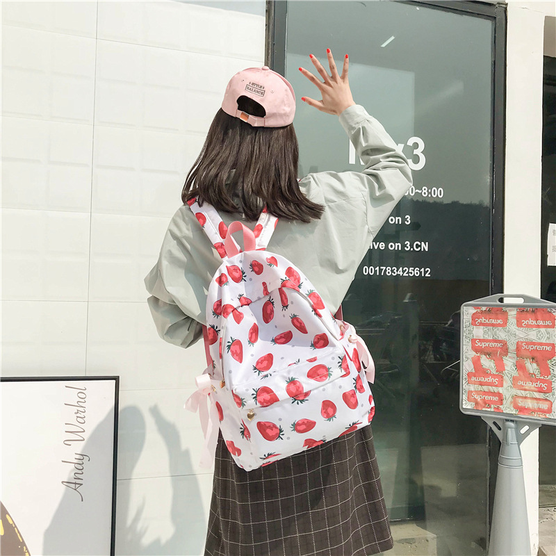 Fashion Cute Lovely Strawberry Bow Women Nylon Backpacks 2019 New Arrival Female Students School Bags Shoulder Bags