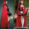 Hot 2014 sexy dress Halloween Little Red Riding Hood costume princess dress dress cloak Bar Game Cosplay costume free hipping