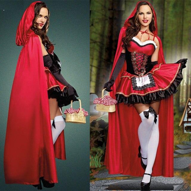 Hot 2014 sexy vestido de Halloween Caperucita Roja disfraz de princesa dress dress capa Bar Juego cosplay hipping libre