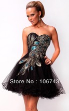 free shipping best seller black dresses new fashion 2013 tulle Sexy ombre vestidos formales short embroidery Cocktail