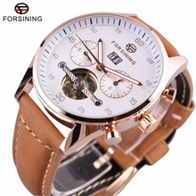 Forsining 2016 British Fashion Style High Grade Suede Strap Mens Watches Top Brand Luxury Tourbillion Automatic Watch Clock Men