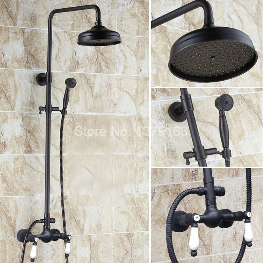 Black Oil Rubbed Bronze Bathroom Rainfall Shower Faucet 8 Round Shower Head Set Mixer Tap Twin ceramic Handle ars477