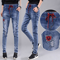 new fashion denim collapse pants 2017 Spring  Europe and the United States wind casual waist elastic female jeans