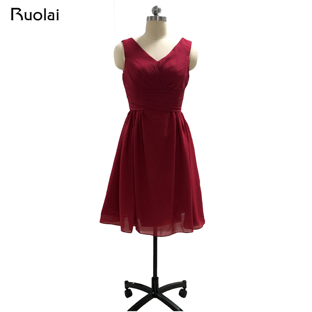 Custom Colors Cheap Bridesmaid Dresses Short V-Neck Burgundy Color Chiffon Ruffles Weddi ...