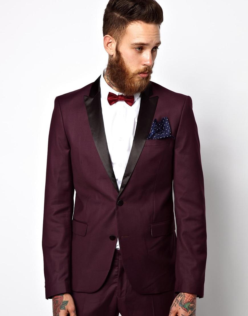 US $86.41 5% OFF|Italienischen Stil Burgund Bräutigam Smoking Schwarz Revers Mens Hochzeit Anzüge Slim Fit Mann Anzug (Jacke + Pants + fliege +