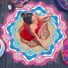 Magia Colorida Lotus Mandala Impresión Polígono Bola Borla Toalla de Playa Para Las Mujeres Cubren Ups Mantas de Tela Bufandas Chal Playa