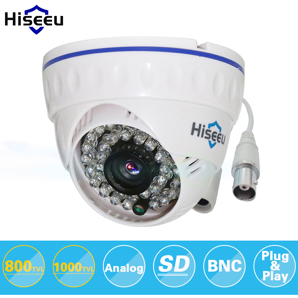 Hiseeu CMOS 800TVL 1000TVL CCTV Camera Mini Dome Security Analog Camera indoor IR CUT Night Vision Surveillance Camera 36 LEDS smar home security 1000tvl surveillance camera 36 ir infrared leds with 3 6mm wide lens built in ir cut filter