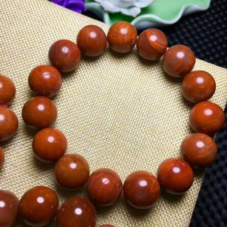 Natural South Red AgateBeads Bracelet 14-13mm AAA