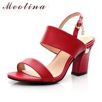 Meotina Chính Hãng Da Thật Kích Thước Lớn 42 43 Thương Hiệu Lady của dép Mùa Hè Mở Toe Chunky Cao Gót Nữ Rhinestone Red giày