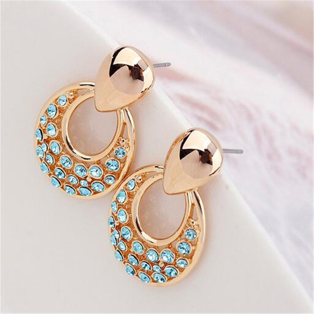 New Arrival Jewelry Earrings Accessories Made With Czech Crystals Gold Plated Lady Ear Studs Earrings Women's Jewellery 5 Colors