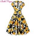 Mulheres summer dress 2016 com decote em v festa picnic dress flor teste padrão de bolinhas de algodão retro vintage floral curto 60 s 50 s vestidos