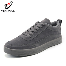 VESONAL Brand Fashion Soft Pig skin Sneakers Male For Men Shoes Adult Fashion Popular Business Footwear Rubber Height Increasing